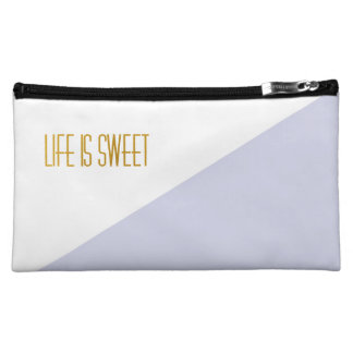 Life is Sweet   Golden   Stripe Chic Bag Cosmetic Bags