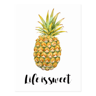 Life is sweet pineapple postcard