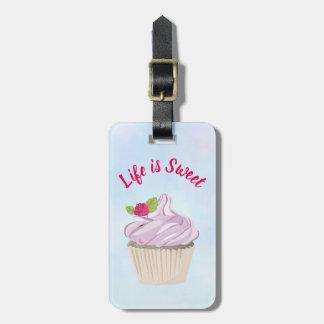 Life is Sweet Pink Cupcake Custom Luggage Tag