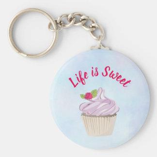 Life is Sweet Pink Cupcake Keychain
