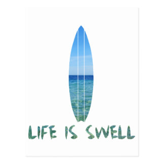 Life Is Swell Surf Board Design Postcard