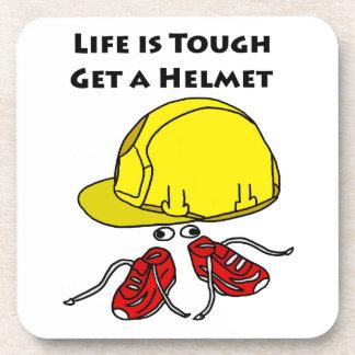Life is tough, Get a helmet slogan Coaster