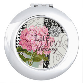 Life Love Beauty Flower Pink Collage Vanity Mirrors