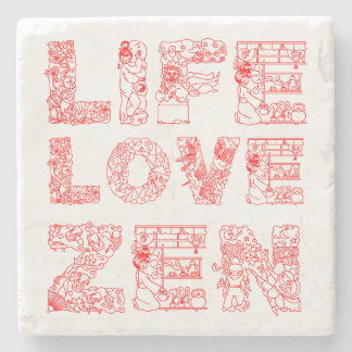 Life, Love, Zen Stone Coaster