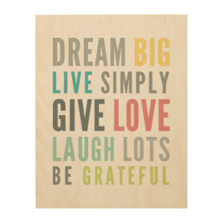 LIFE MANTRA positive cool typography pastel colors Wood Canvas