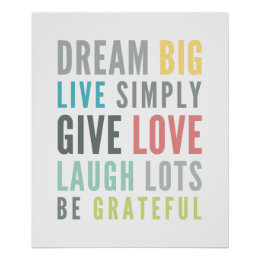 LIFE MANTRA QUOTE Positive Typography Pastel Color Poster ...
