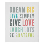 LIFE MANTRA QUOTE positive typography pastel Poster