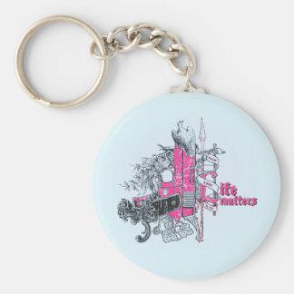 Life Matters Stop War Gun Grunge Basic Round Button Keychain