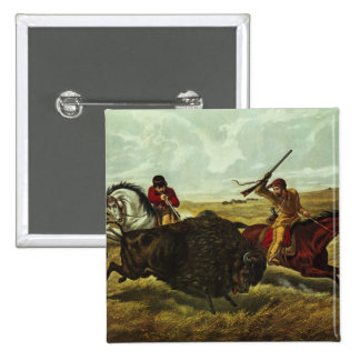 Life on the Prairie - the Buffalo Hunt, 1862 2 Inch Square Button