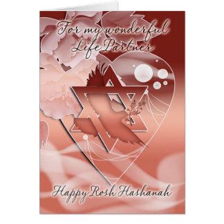 Life Partner - Rosh Hashanah - Dove - Flowers Card