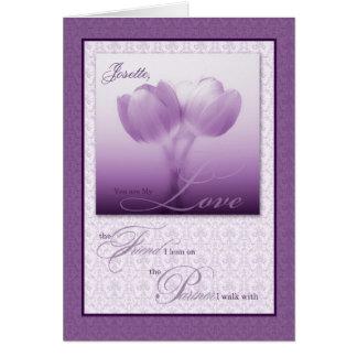 Life Partner Wedding Anniversary Purple Tulips Card