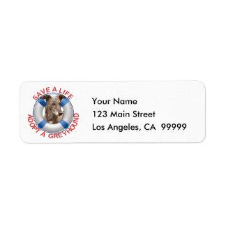 Life Preserver with Greyhound Adoption Return Address Label
