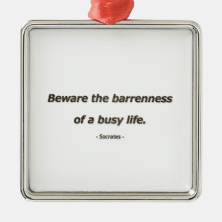 Life Quote by Socrates - Beware the barrenness of Silver-Colored Square Ornament