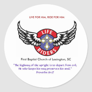 Life Riders wings logo3, LIVE FOR HIM, RIDE FOR... Classic Round Sticker