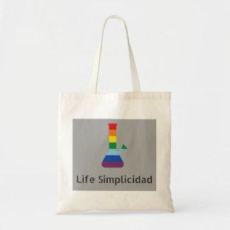 Life Simplicidad Rainbow Bong Black Text Tote Bag