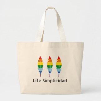 Life Simplicidad Rainbow Feathers Large Tote Bag