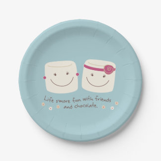 Life S'more Fun Marshmallow Friends Plates 7 Inch Paper Plate