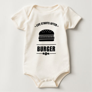 Life Starts After BURGER_NO BG Baby Bodysuit