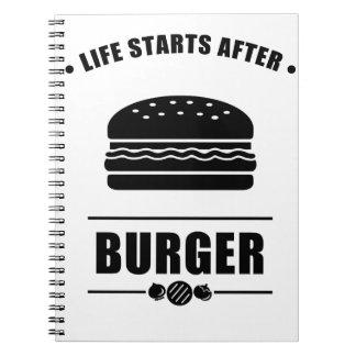 Life Starts After BURGER Notebook