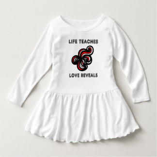 """Life Teaches, Love Reveals"" Toddler Ruffle Dress"