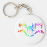 Life without Music would B Flat Humour Quote Basic Round Button Keychain