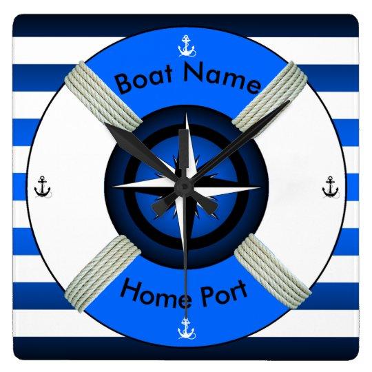 Lifebuoy ~Life-Ring ~Livesaver~Ocean Blue & White~ Wallclocks