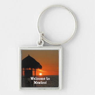 Lifeguard Hut at Sunset; Mexico Souvenir Silver-Colored Square Keychain