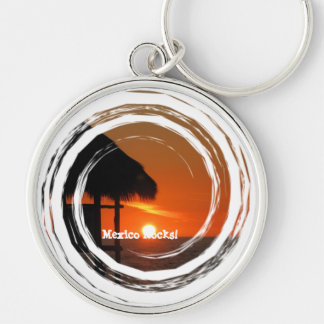 Lifeguard Hut at Sunset; Mexico Souvenir Silver-Colored Round Keychain