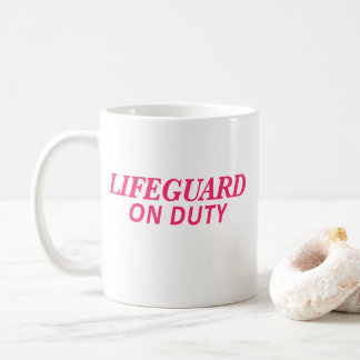 Lifeguard on Duty Print Pink Coffee Mug