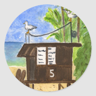 Lifeguard Station 5 Classic Round Sticker