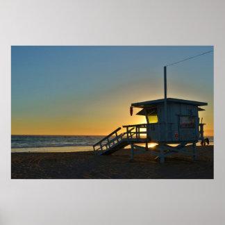 Lifeguard Station at Santa Monica Beach California Poster