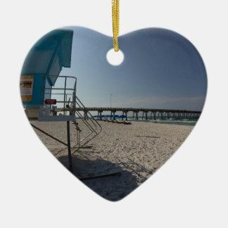Lifeguard Tower at Panama City Beach Pier Ceramic Heart Ornament