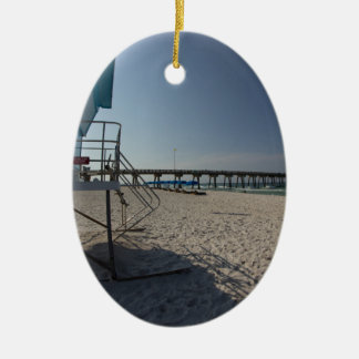 Lifeguard Tower at Panama City Beach Pier Ceramic Ornament