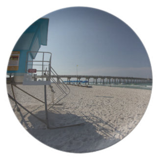 Lifeguard Tower at Panama City Beach Pier Party Plate