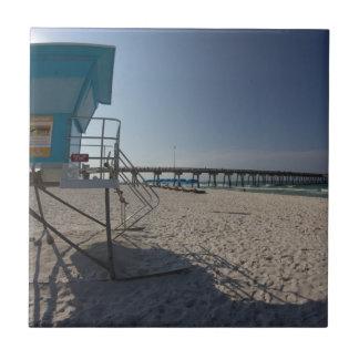 Lifeguard Tower at Panama City Beach Pier Tile
