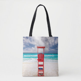 Lifeguard Tower On Beach | Cancun, Mexico Tote Bag
