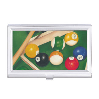 Lifelike Billiards Table with Balls and Chalk Business Card Holders