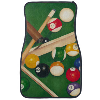 Lifelike Billiards Table with Balls and Chalk Car Mat