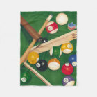 Lifelike Billiards Table with Balls and Chalk Fleece Blanket