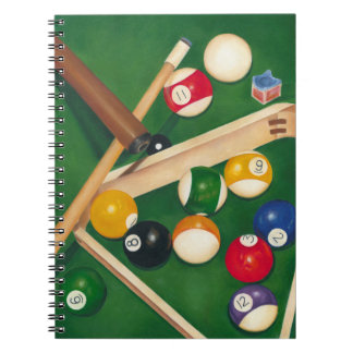 Lifelike Billiards Table with Balls and Chalk Notebooks