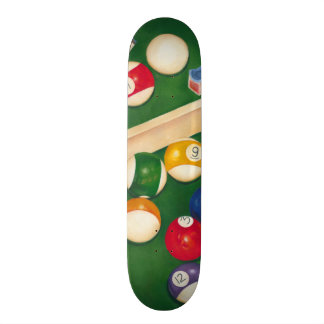 Lifelike Billiards Table with Balls and Chalk Skate Board Deck