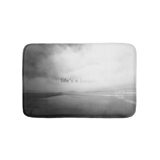 Life's a Beach - Black and White Typographic Photo Bathroom Mat