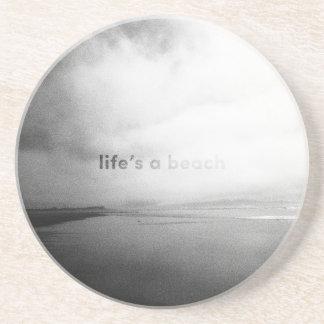 Life's a Beach - Black and White Typographic Photo Coaster