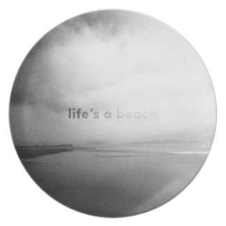 Life's a Beach - Black and White Typographic Photo Dinner Plates
