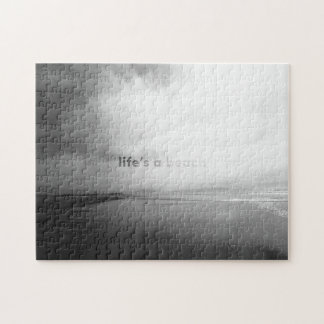 Life's a Beach - Black and White Typographic Photo Jigsaw Puzzle