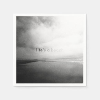 Life's a Beach - Black and White Typographic Photo Paper Napkins