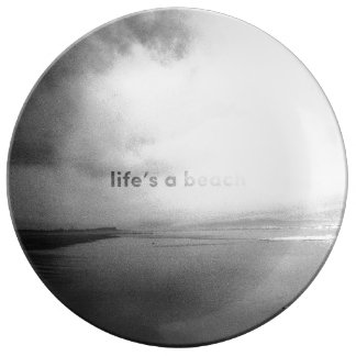 Life's a Beach - Black and White Typographic Photo Porcelain Plates