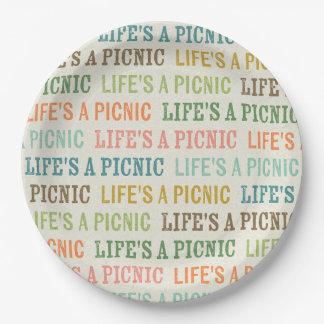 Life's A Picnic Color Text Paper Plates