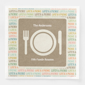 Life's A Picnic Taupe Paper Napkins