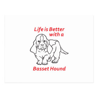 LIFES BETTER WITH BASSET POST CARD